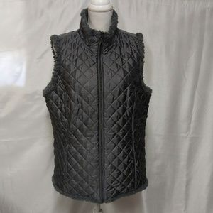 Denim & Company Silver Quilted Polyester Fill Vest